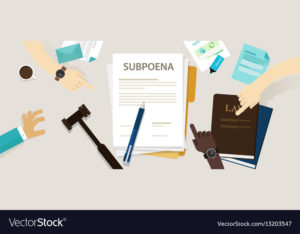 subpoena ordering a person to attend a court vector