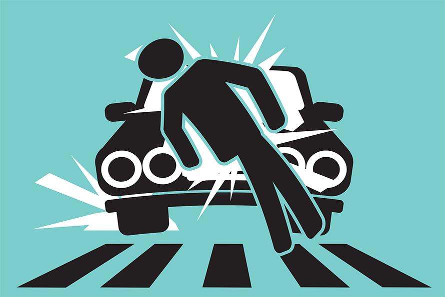 pedestrian hit by car